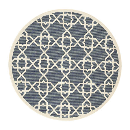Safavieh Courtyard Collection Nicol Geometric Indoor/Outdoor Round Area Rug, One Size , Multiple Colors