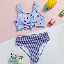 Maedchen Bikini Badeanzug mit Stern & Streifen Muster