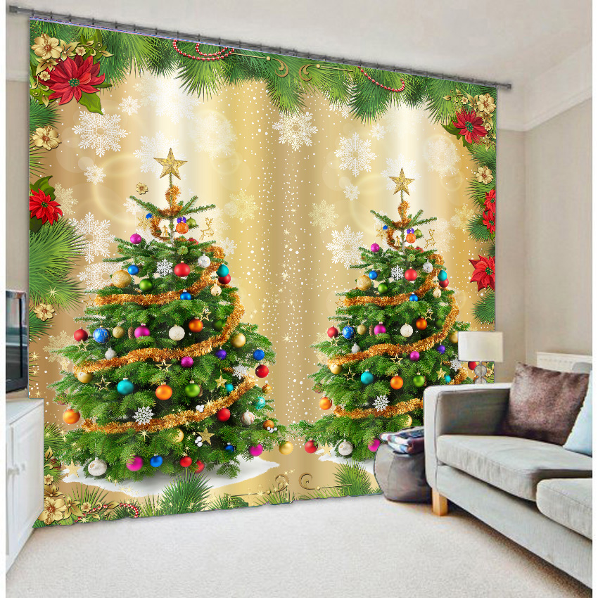 3D Wonderful Christmas Trees Printed Polyester Modern Style Blackout Custom Christmas Curtain