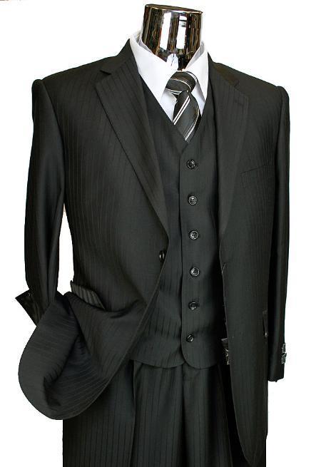 Mens Black Tone 3 Piece 2 Button Suit with Single Pleated Pants
