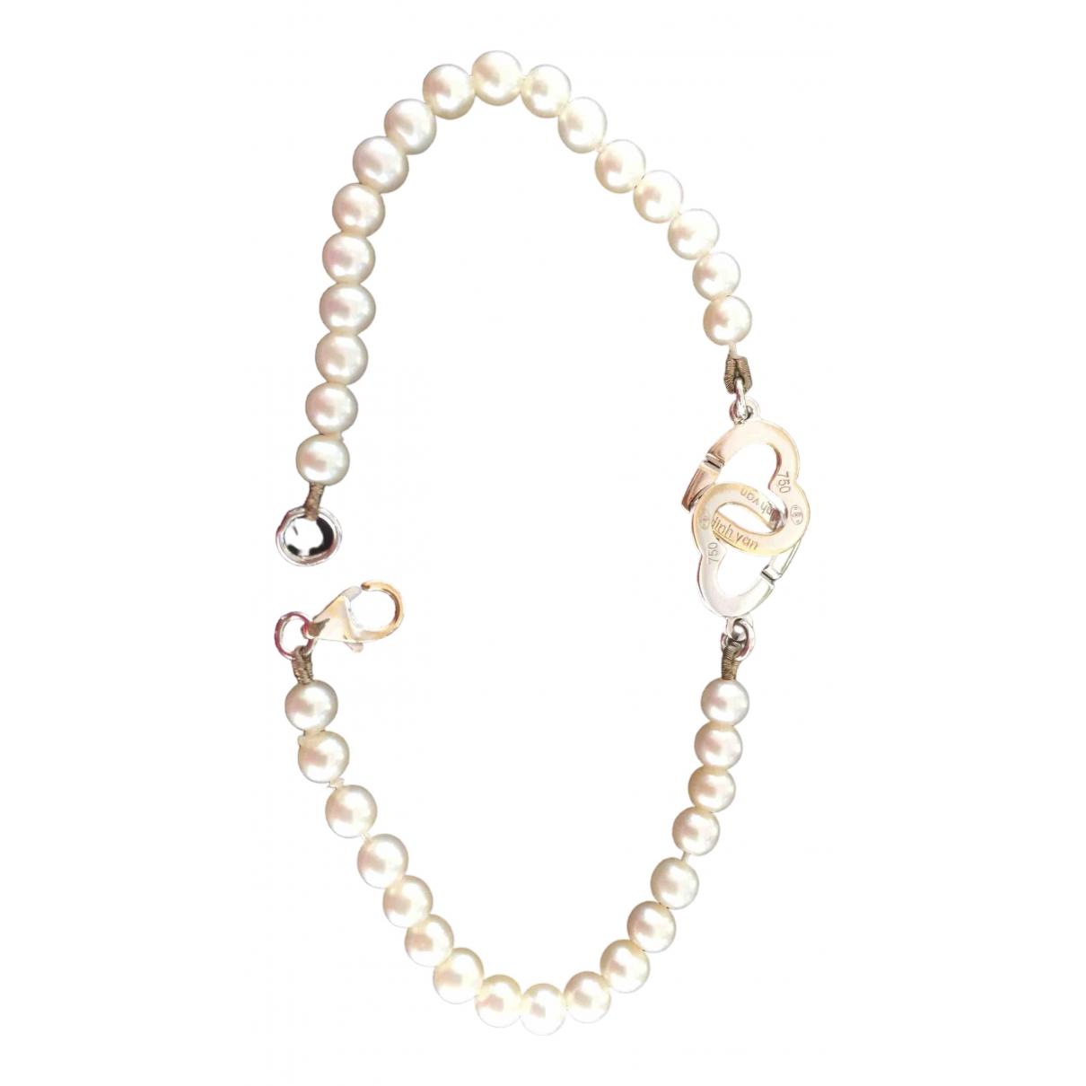 Dinh Van Double Coeur Armband in  Weiss Perlen