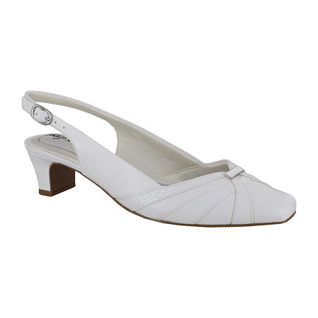 Easy Street Womens Pilar Pumps Block Heel, 8 Medium, White