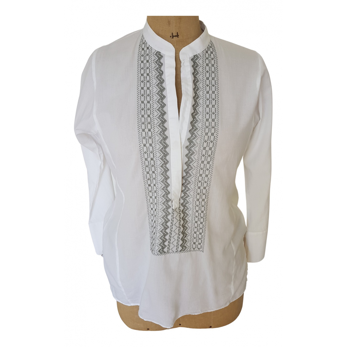 Non Signé / Unsigned \N White Cotton  top for Women 40 FR