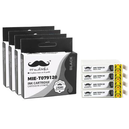 Compatible Epson 79 T079120 cartouche d'encre noire haute capacite - Moustache@ - 4/paquet