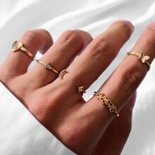 5 piezas anillo con corazon