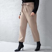 Pantalones con lazo de cintura con volante