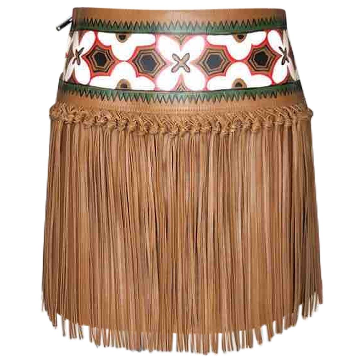 Valentino Garavani \N Brown Leather skirt for Women 40 IT