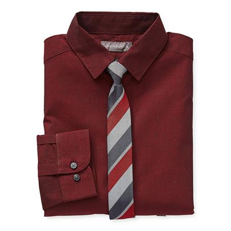 Van Heusen Little & Big Boys Point Collar Long Sleeve Stretch Shirt + Tie Set, 10-12 Husky , Red
