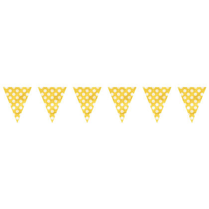 Sunflower Yellow Polka Dot Party Decor Pennant Flag Banner, 12ft