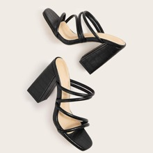 Croc Embossed Strappy Chunky Heeled Mules