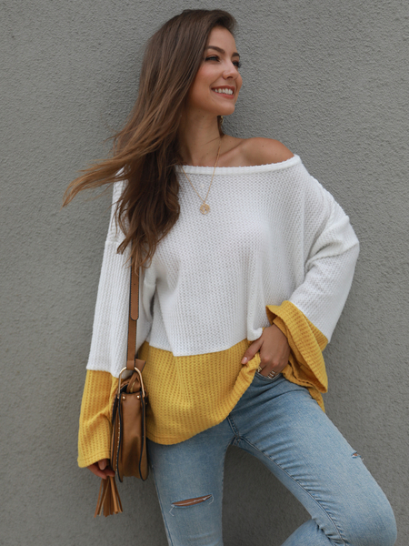 Yoins Yellow Color Blocking One Shoulder Knit Top