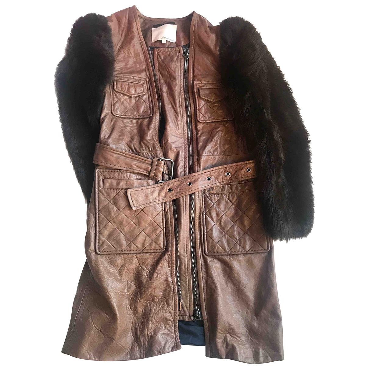 3.1 Phillip Lim - Manteau   pour femme en cuir - marron