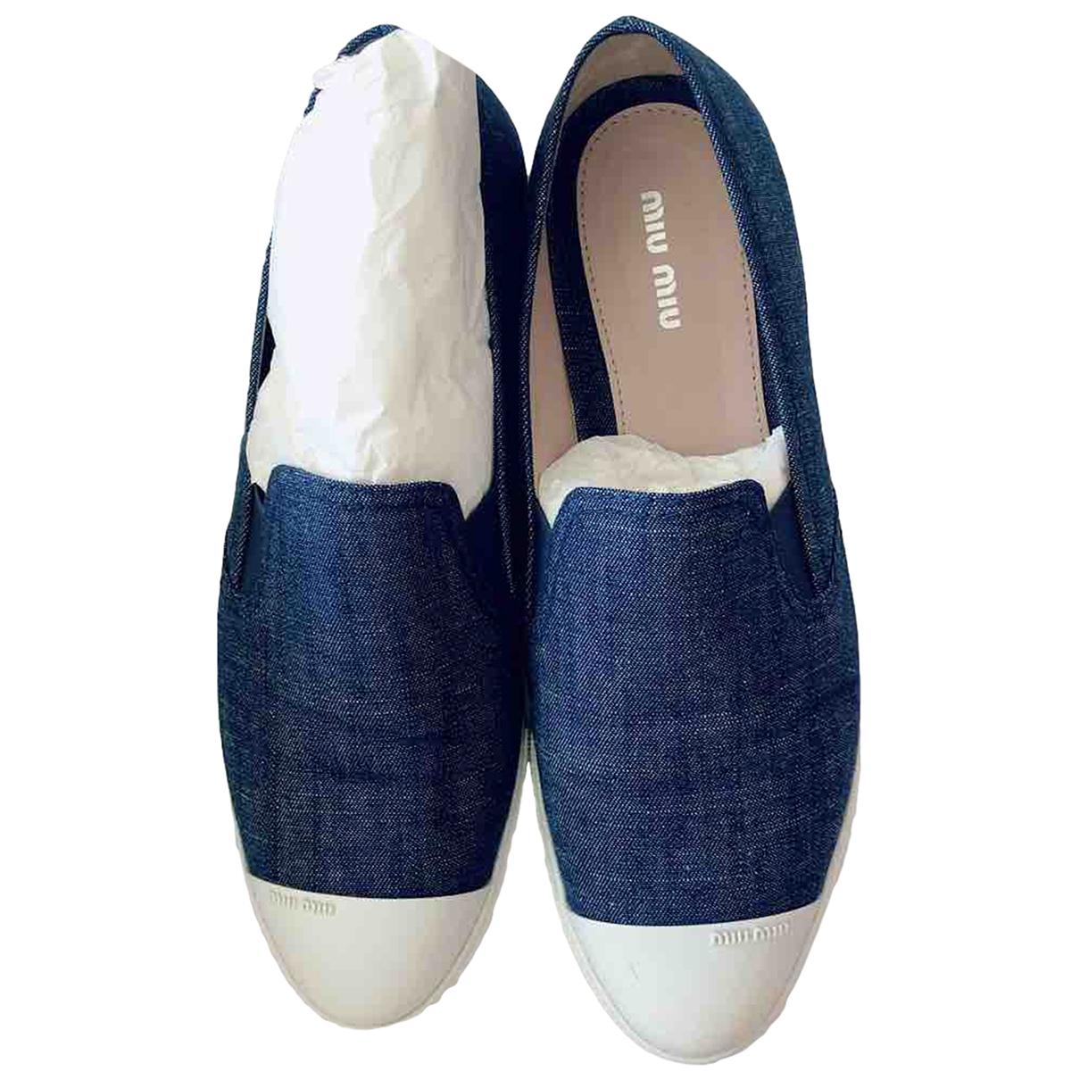 Miu Miu - Baskets   pour femme en toile - bleu