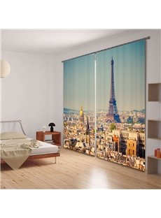 Magnificent Tower Printed Decorative and Blackout Custom Window 3D Curtain