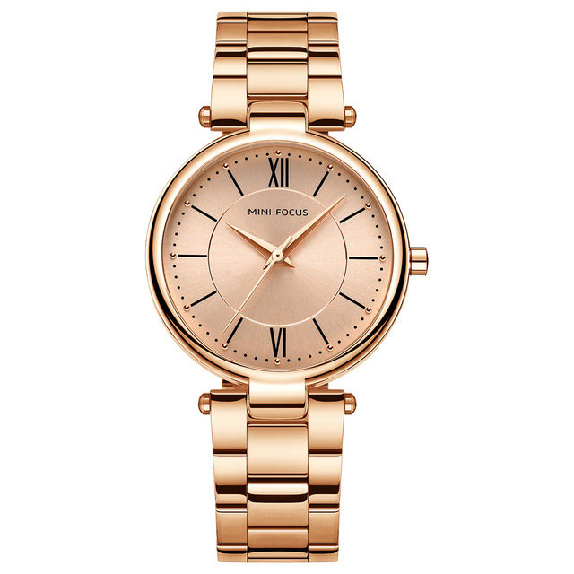 MINI FOCUS Fashion Wristwatch Multicolor Stainless Steel Strap Roman Number Dial Watches for Women