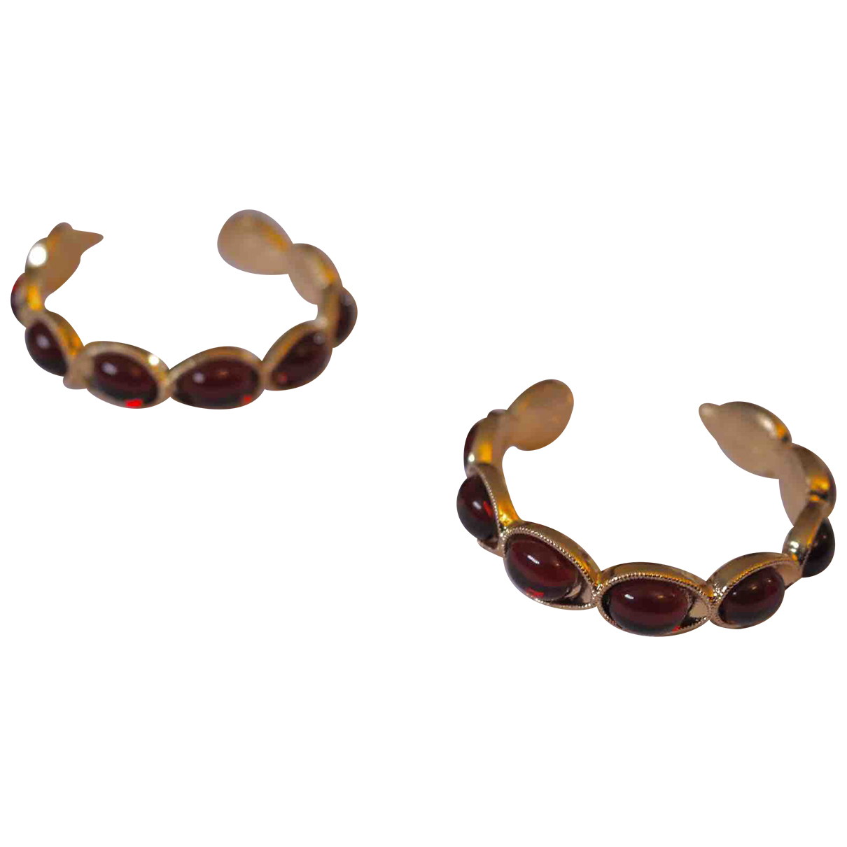 Non Signé / Unsigned Motifs Ethniques Red Metal Earrings for Women N
