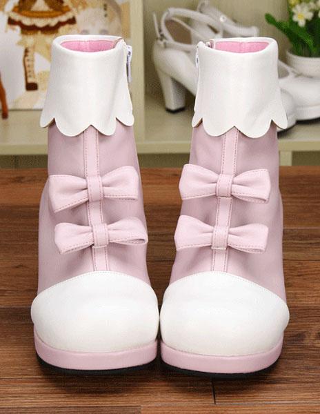 Milanoo Light Pink PU Lolita Heel Boots for Girls