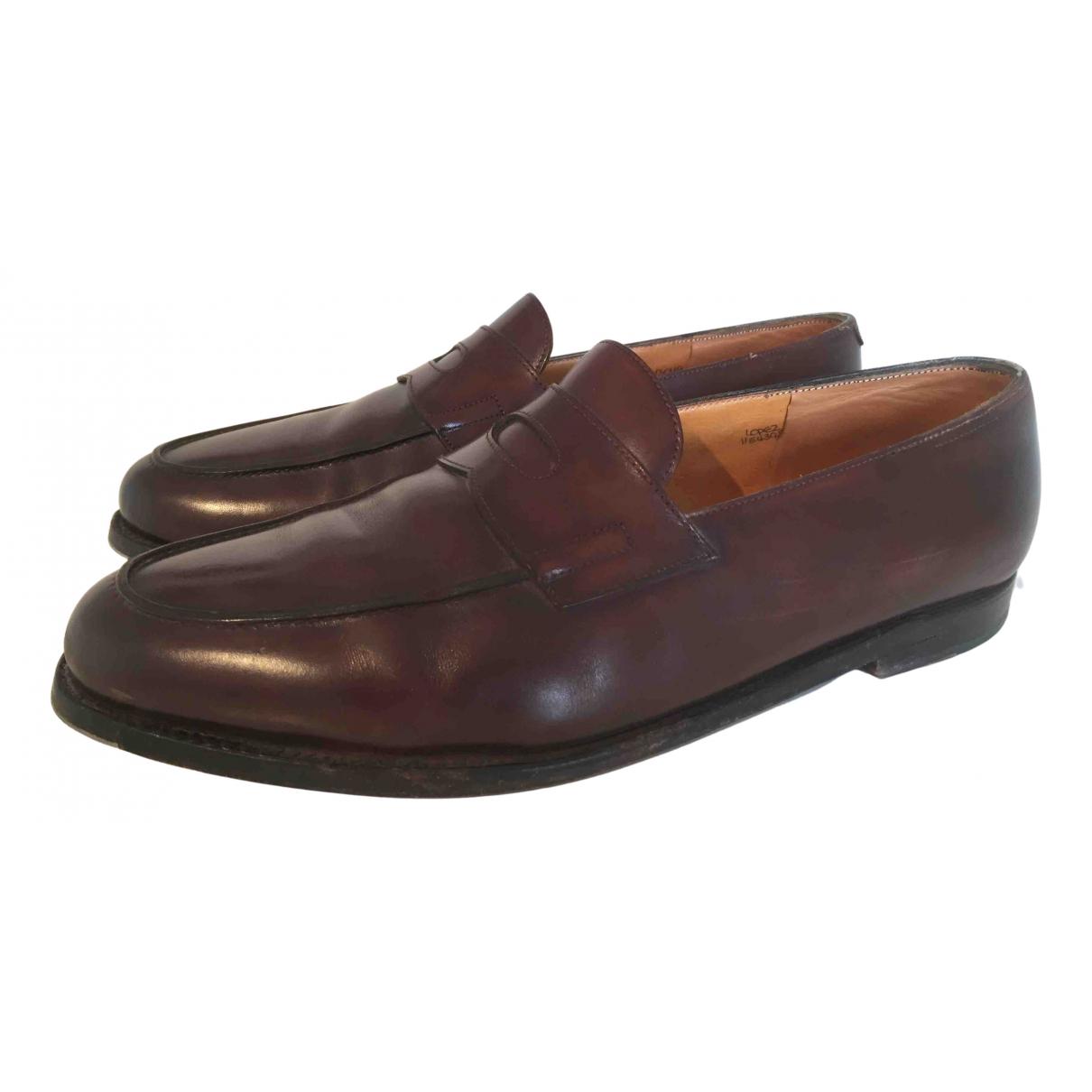John Lobb N Brown Leather Flats for Men 44 EU