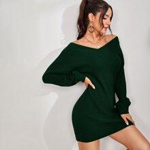Drop Shoulder Solid Sweater Dress