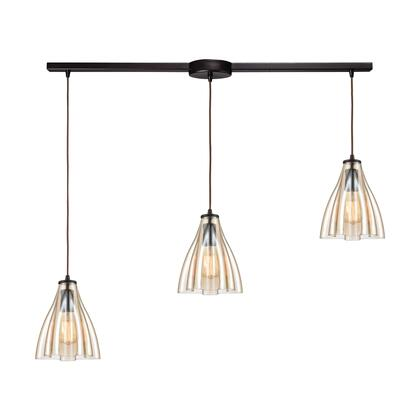 21182/3L Matilda 3-Light Pendant in Oil Rubbed Bronze with Amber Wavy