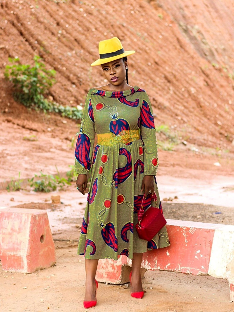 Ericdress A-Line Geometric Print Pleated Slash Neck Dress