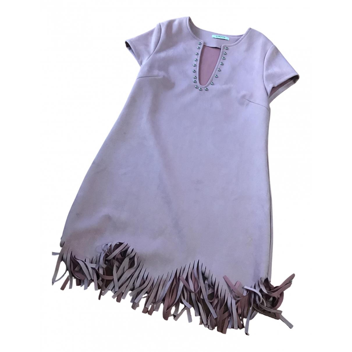 Non Signe / Unsigned \N Kleid in  Rosa Veloursleder
