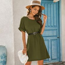 Batwing Sleeve Tunic Dress With Belt