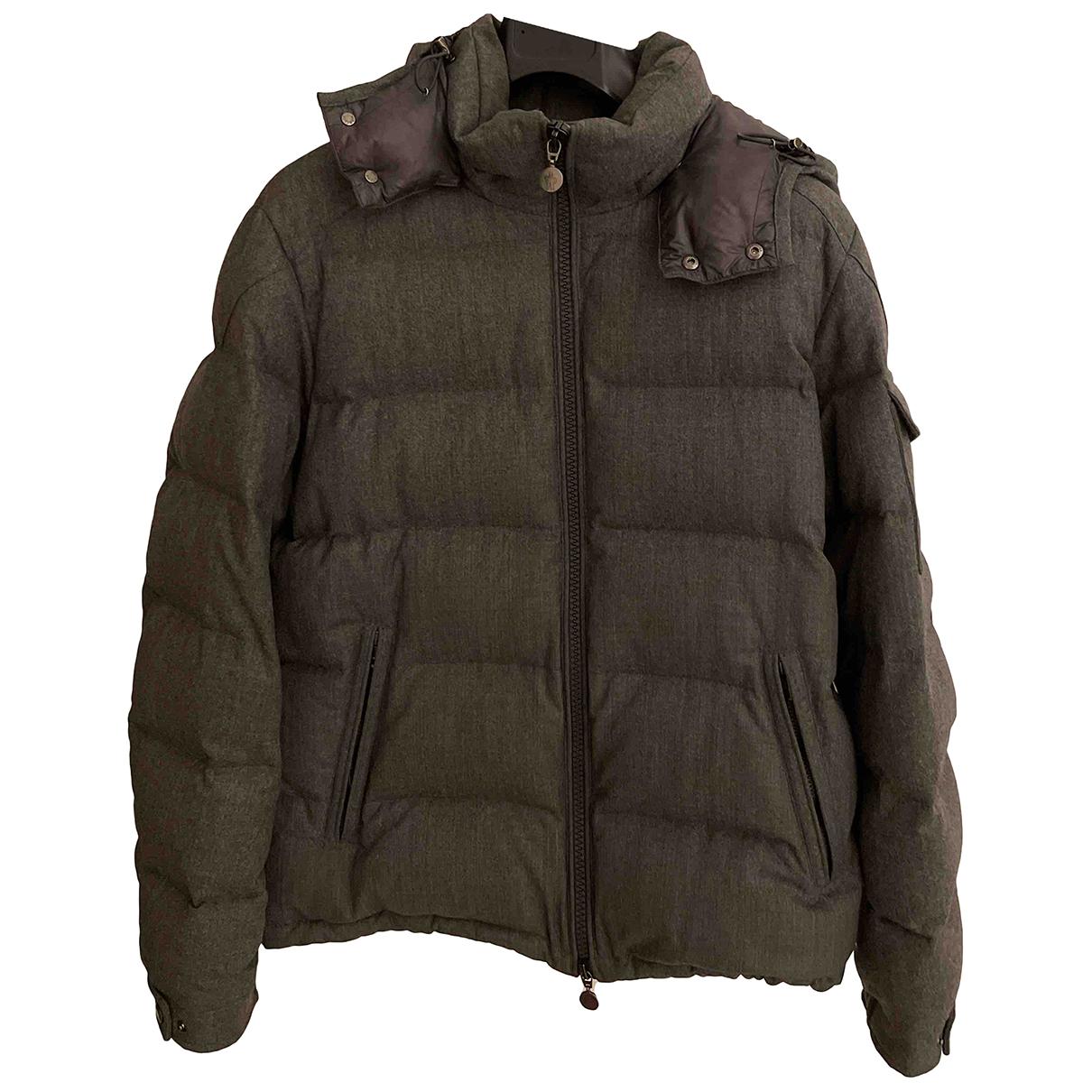 Moncler Hood Grey Wool coat  for Men L International