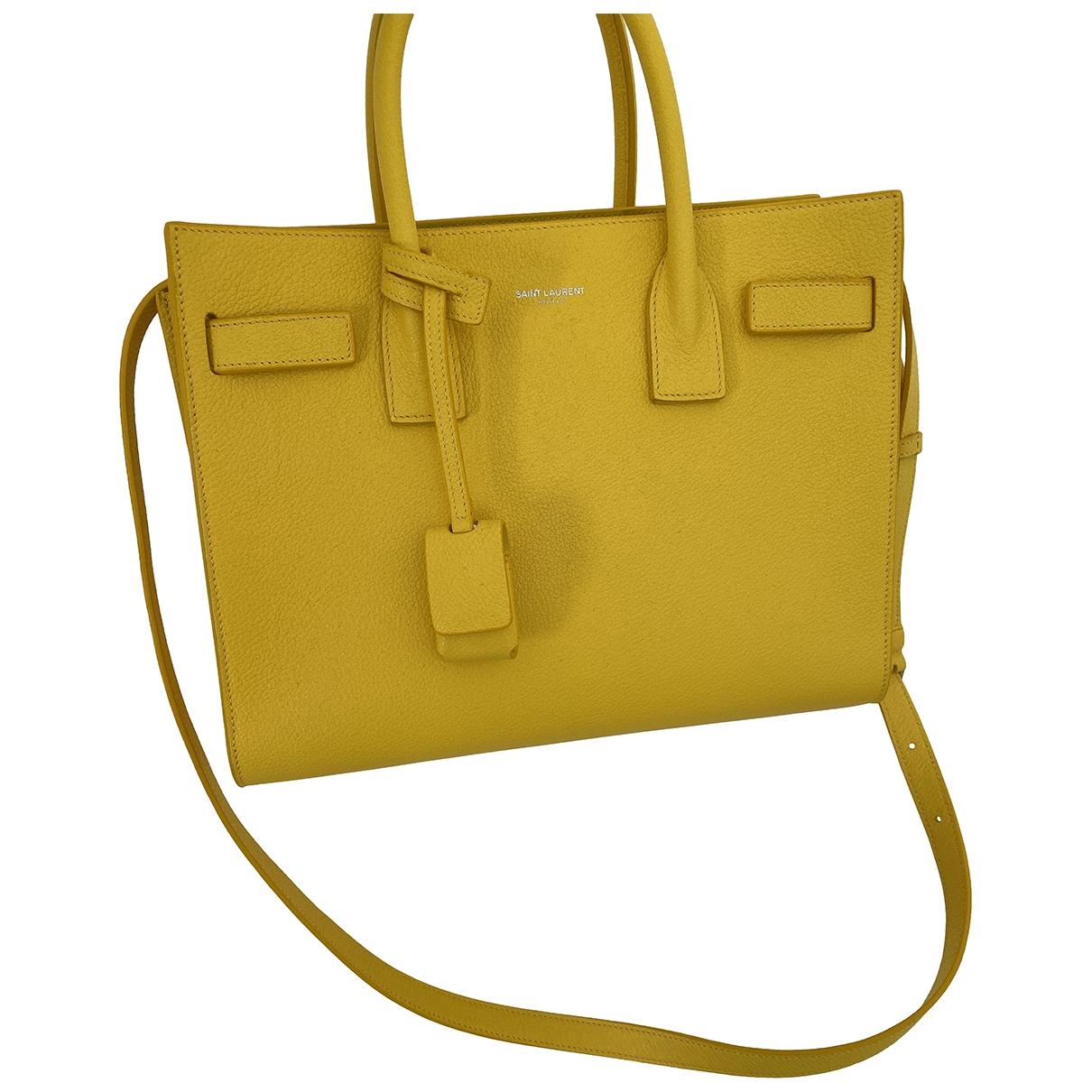 Saint Laurent Sac de Jour Handtasche in  Gelb Leder