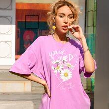 Letter & Floral Print T-shirt