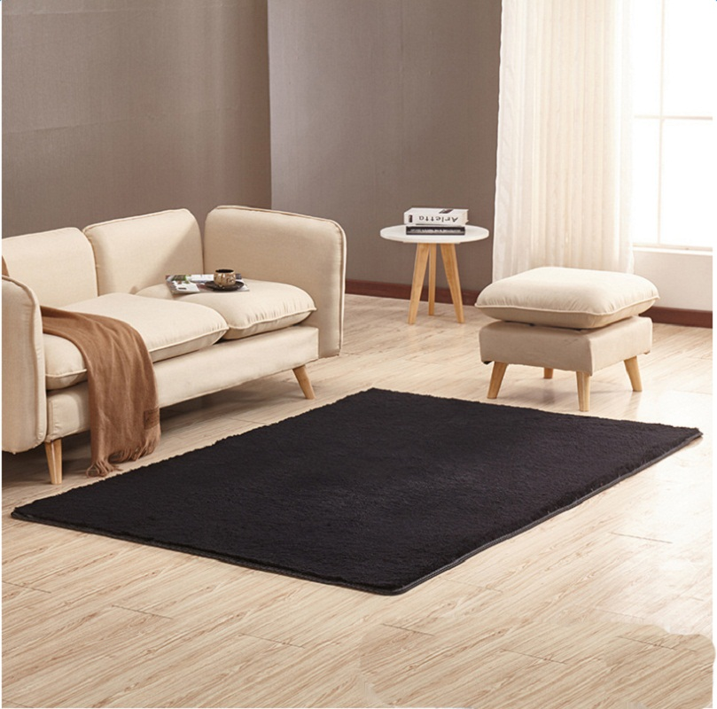 Rectangle Shape Flannel Material Simple Style Plain Pattern Area Rug