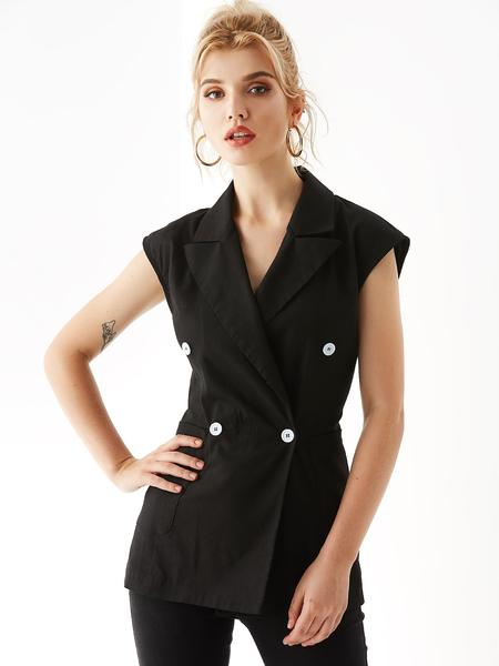 YOINS Black Wrap Design Notch Collar Waistcoat