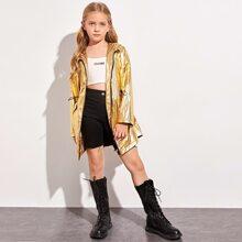 Girls Zipper Front Drawstring Waist Metallic Windbreaker Jacket