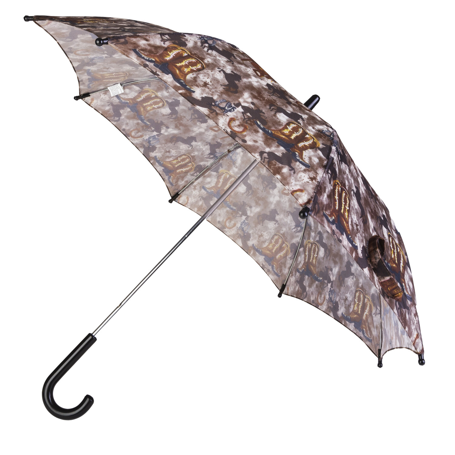 Rainstoppers Boys 32 inch Umbrella Western Boots Saddle and Camouflage Print