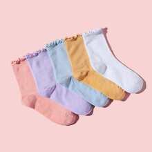 5pairs Toddler Girls Frill Trim Socks
