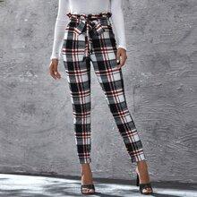 Hose mit Papiertaschen auf Taille, Band vorn und Karo Muster