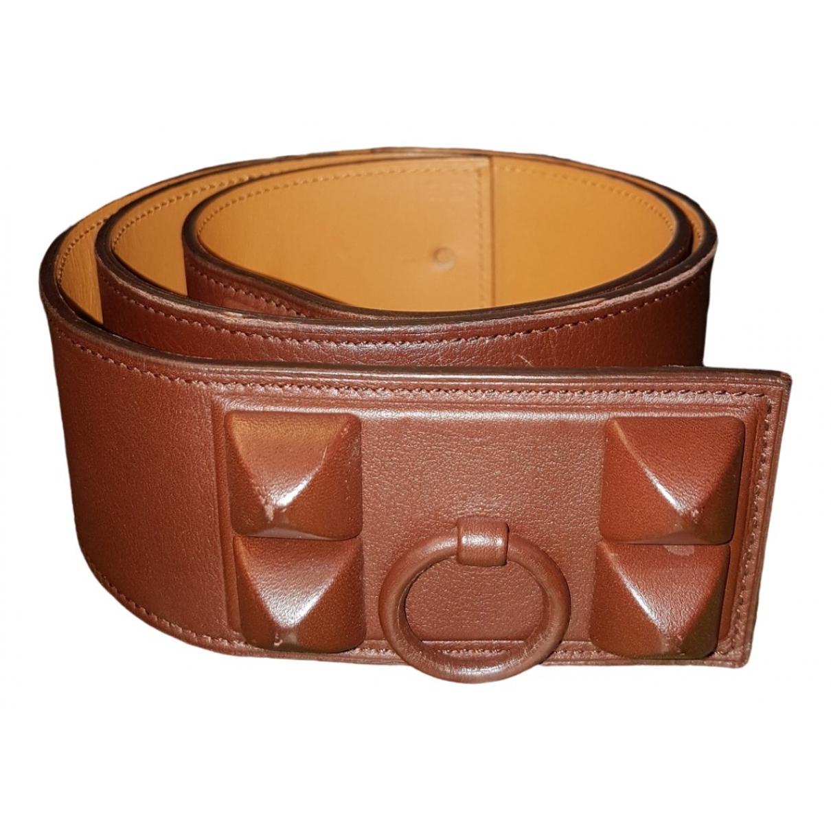 Hermès Collier de chien Brown Leather belt for Women 90 cm