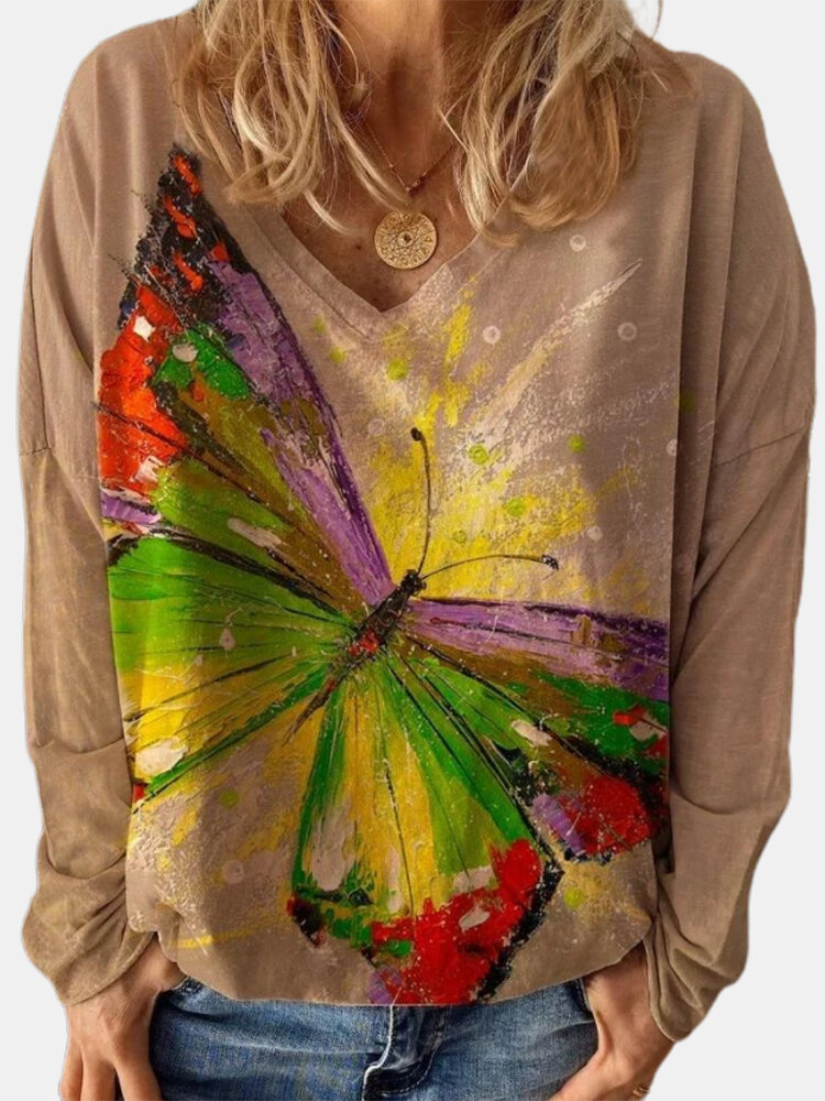 Butterfly Print V-neck Long Sleeve Casual T-Shirt For Women