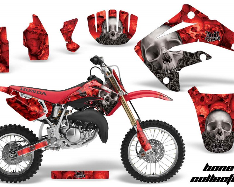 AMR Racing Graphics MX-NP-HON-CR85-03-07-BC R Kit MX Decal Wrap + # Plates For Honda CR85 CR 85 2003-2007 BONES RED
