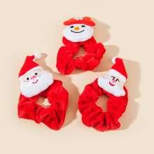 3 Stuecke Kleinkind Maedchen Srcunchie mit Weihnachtsmann Dekor