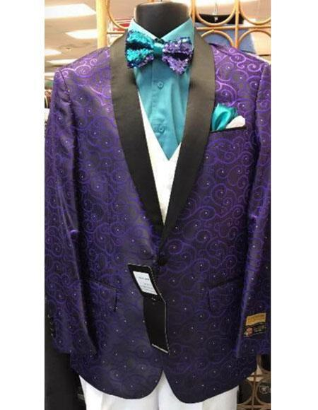 Mens Cheap Fashion big and tall Plus Size Blazer For Guys Purple