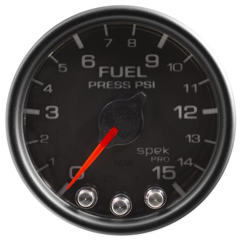 AutoMeter GAUGE; FUEL PRESS; 2 1/16in.; 15PSI; STEPPER MOTOR W/PEAK/WARN; BLK/BLK; SPEK
