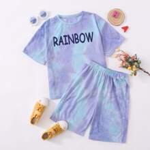 Girls Letter Graphic Tie Dye Top & Biker Shorts Set