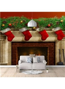 3D Fireplace Christmas Wall Mural Eco-friendly Non-woven Fabrics Home Decoration