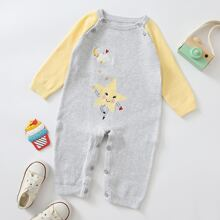 Baby Boy Color Block Cartoon Graphic Sweater Jumpsuit