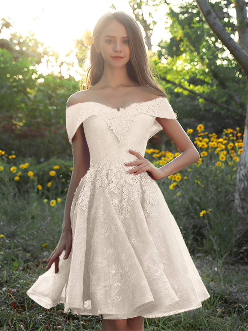 Ericdress A-Line Lace Appliques Off-the-Shoulder Knee-Length Homecoming Dress