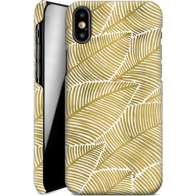 Apple iPhone XS Smartphone Huelle - Tropical Leaves Gold von Cat Coquillette