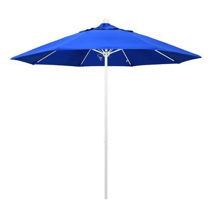 ALTO908170-5401 9' Venture Series Commercial Patio Umbrella With Matted White Aluminum Pole Fiberglass Ribs Push Lift With Sunbrella 1A Pacific Blue