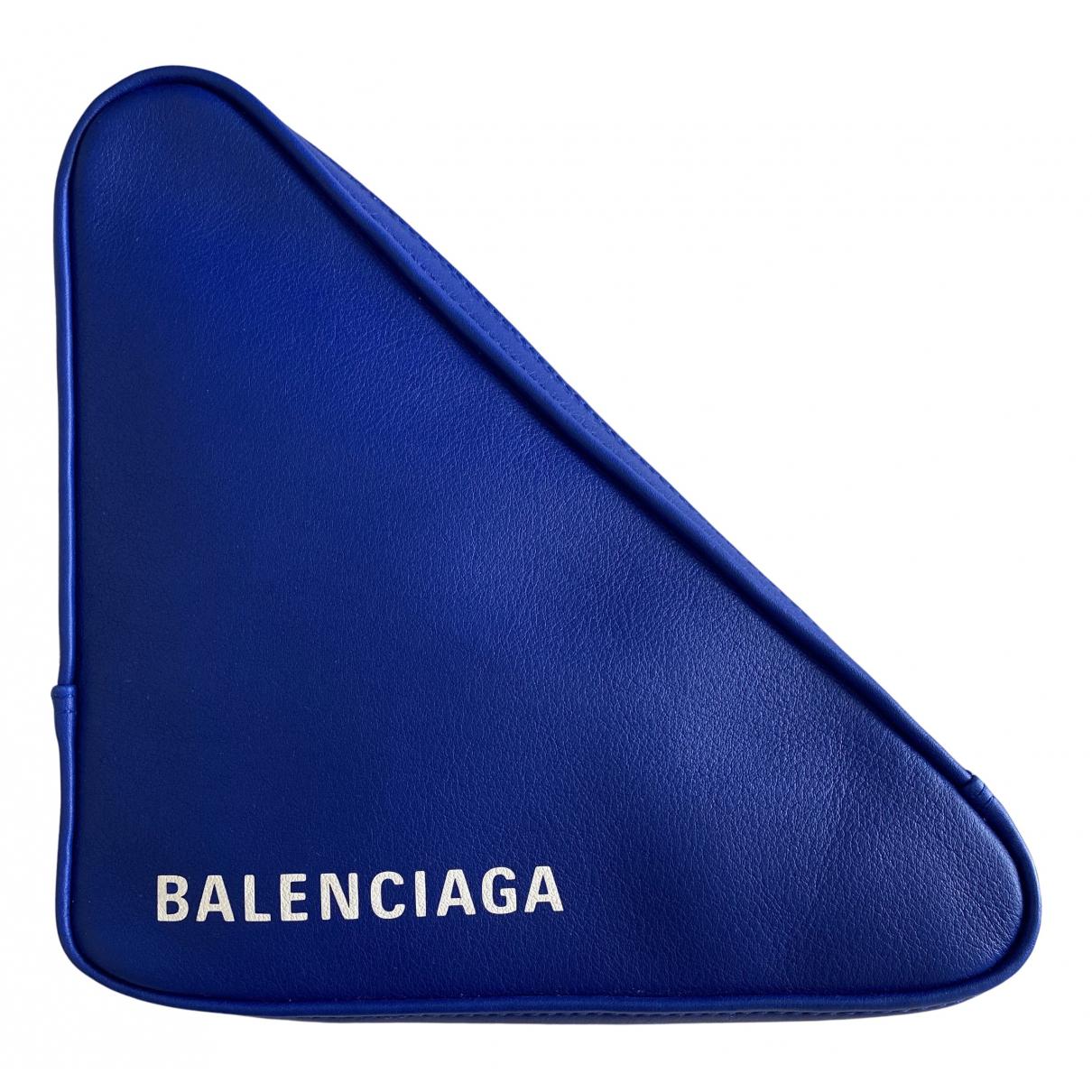 Balenciaga Triangle Blue Leather Clutch bag for Women N