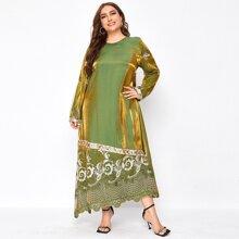 Satin Tunik Kleid mit Stamm Muster